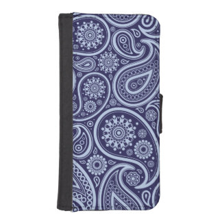 Navy Blue Retro Paisley Pattern iPhone SE/5/5s Wallet Case