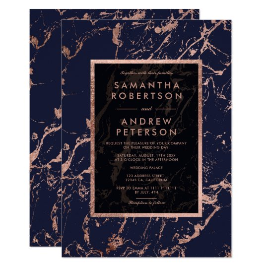 Navy blue rose gold frame marble wedding card
