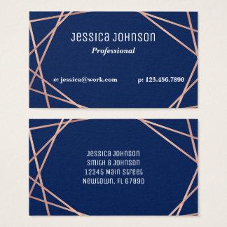Navy Blue Rose Gold Geometric Business Card