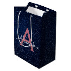 Navy Blue & Rose Gold Sparkle Glitter Monogram Medium Gift Bag