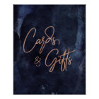 Navy Blue & Rose Gold Wedding Cards & Gifts Poster