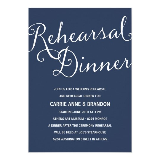Navy Blue | Rustic Calligraphy Rehearsal Dinner Card