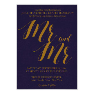 Navy Blue Rustic Chic Mr and Mr Gay Wedding Card
