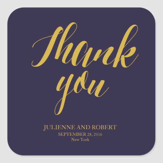 Navy Blue Rustic Chic Wedding Thank You Stickers