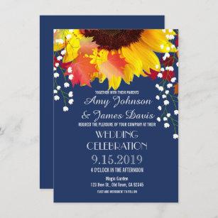 Navy Blue Rustic Sunflower Wedding Invitations