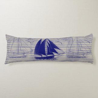 Navy blue sailboat boy's room body cushion