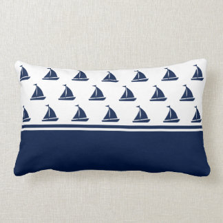 Navy Blue Sailing Boats Nautical Lumbar Pillow