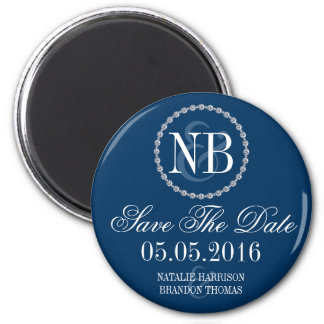 Navy blue Save The Date wedding magnet