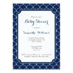 Navy Blue Scallop Pattern Baby Shower Invitation