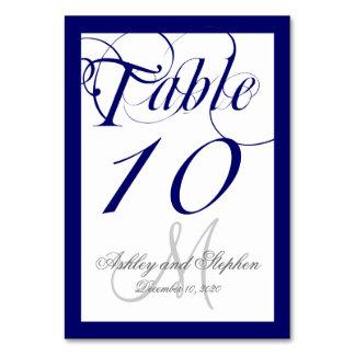 Navy Blue Script Monogram Wedding Table Cards