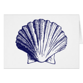 Navy Blue Sea Shell Thank You Note Cards
