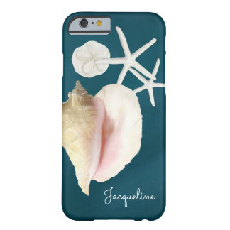 Navy Blue Seashell Modern Beach Conch Starfish Barely There iPhone 6 Case