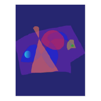 Navy Blue Serious Face Abstract Painting Postcard
