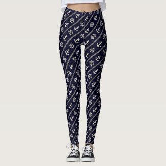 Navy Blue Ship Wheel Anchor Nautical Marine Girl Leggings