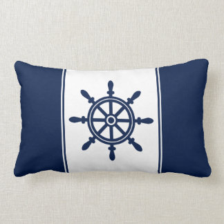 Navy Blue Ship's Wheel Lumbar Pillow