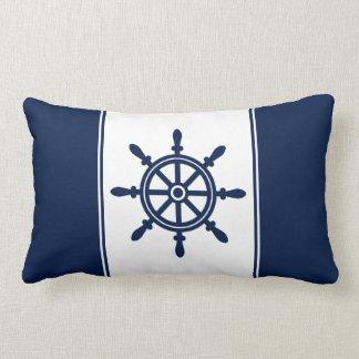 Navy Blue Ship's Wheel Lumbar Pillow