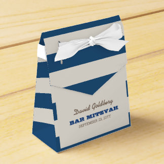 Navy Blue & Silver Bar Mitzvah Favor Box