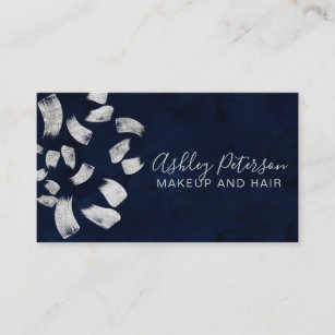 Navy and silver business cards business card printing zazzle uk navy blue silver brushstrokes makeup typography business card colourmoves