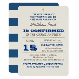 Navy Blue & Silver Confirmation Invitation