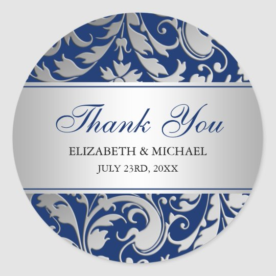 Navy Blue Silver Damask Swirls Wedding Thank You