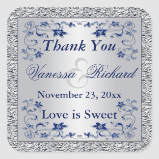 Navy Blue Silver FAUX Foil Wedding Favor Sticker