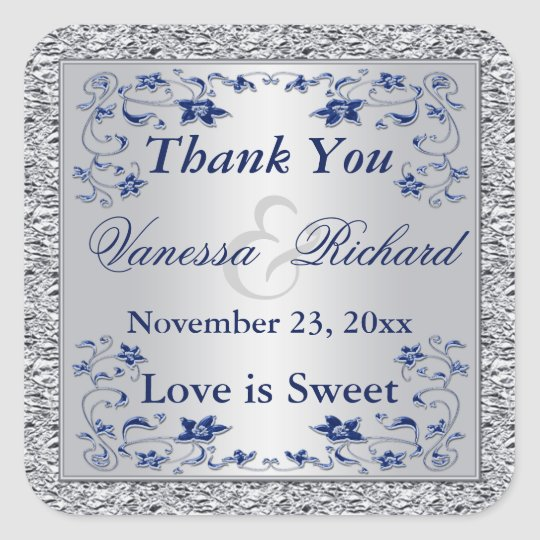 Navy Blue Silver FAUX Foil Wedding Favour Sticker