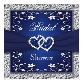 Navy Blue, Silver Floral, Hearts Bridal Shower 13 Cm X 13 Cm Square Invitation Card