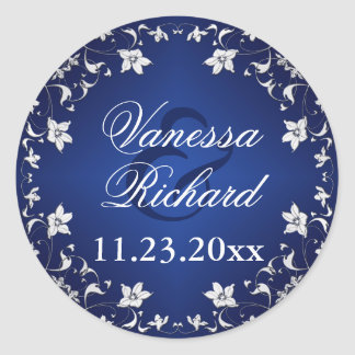 Navy Blue, Silver Gray Floral Wedding Sticker