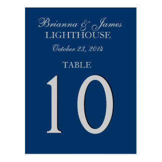 Navy Blue & Silver Wedding Table Number Card Postcards