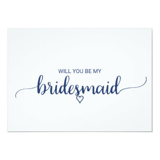 Navy Blue Simple Calligraphy Bridesmaid Proposal Card