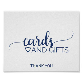 Navy Blue Simple Calligraphy Cards and Gifts Sign