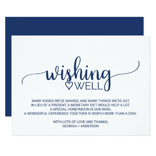Navy Blue Simple Calligraphy Wedding Wishing Well Card