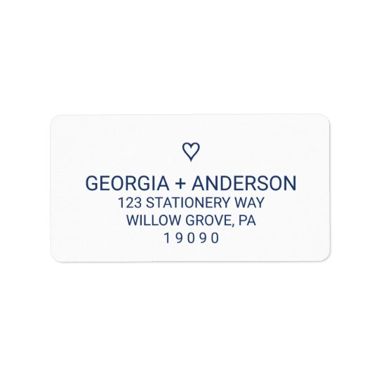 Navy Blue Simple Heart Wedding Address Label
