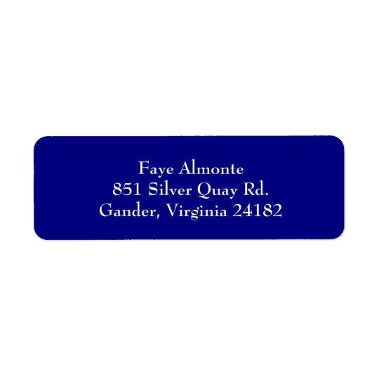 Navy Blue Simple Plain Return Address Labels