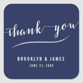 Navy Blue Simple Thank You Wedding Stickers