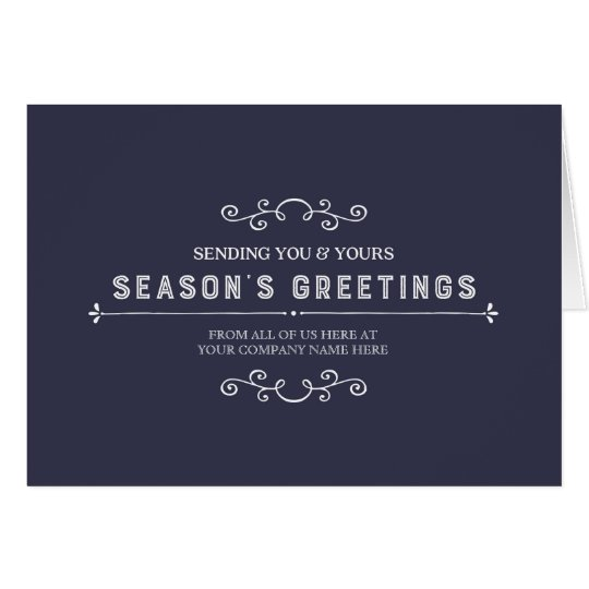 Navy Blue Simple Vintage Corporate Christmas Card