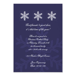Navy Blue Snowflake Office Christmas Party 13 Cm X 18 Cm Invitation Card