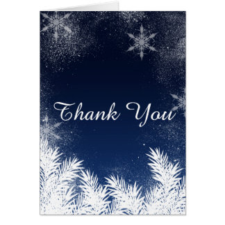 Navy Blue Snowflake Pine Winter Wedding Thank You Card