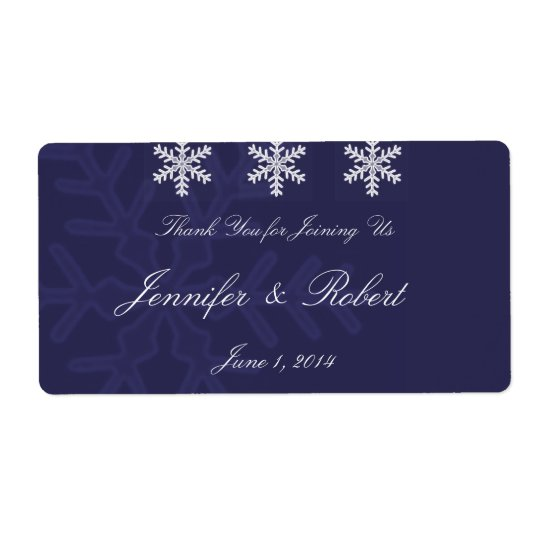 Navy Blue Snowflake Winter Wedding Water Label