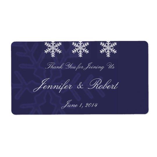 Navy Blue Snowflake Winter Wedding Water Label Shipping Label