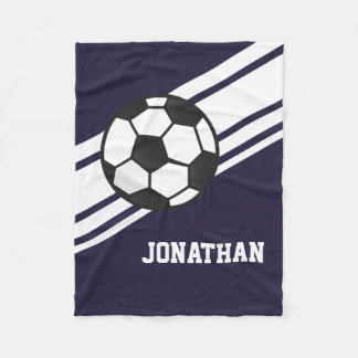 Navy Blue Soccer Ball Sports Personalized Name Fleece Blanket