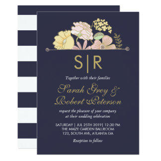 Navy Blue Spring Flowers Doodle Wedding Invitation
