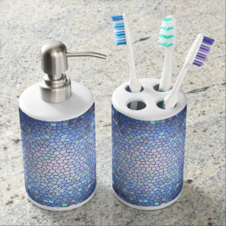 Navy Blue Stained Glass Mosaic Soap Dispenser