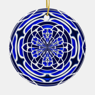 Navy blue stained glass window christmas ornament
