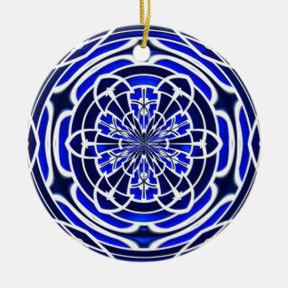 Navy blue stained glass window round ceramic decoration