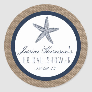 Navy Blue Starfish Beach Bridal Shower Stickers