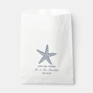 Navy Blue Starfish Beach Wedding Favor Bag