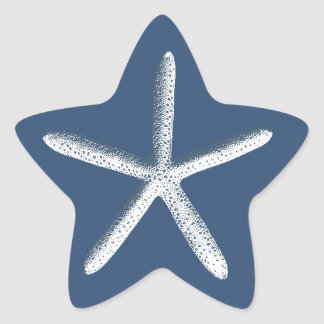 Navy Blue Starfish Beach Wedding Favor Star Sticker