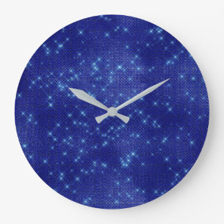 Navy Blue Stars Sequin Metallic Diamond Sparkly Large Clock