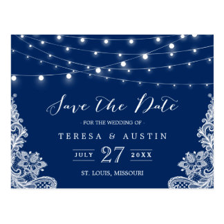 Navy Blue String Lights Elegant Lace Save the Date Postcard